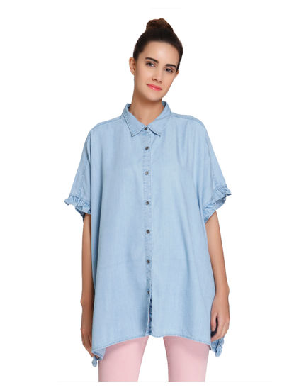 Light Blue Frill Detail Drop Shoulder Denim Shirt