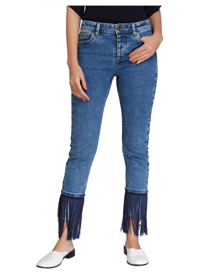 Blue Mid Rise Fringe Detail Straight Fit Jeans