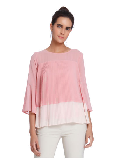 Ombre Pink Pleated Top