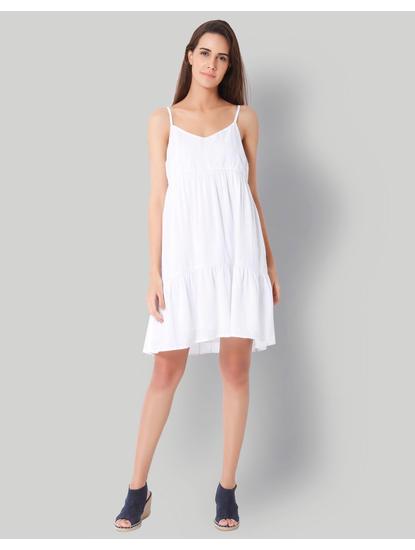 White Tiered Midi Dress