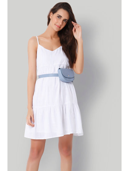 White Tiered Midi Dress