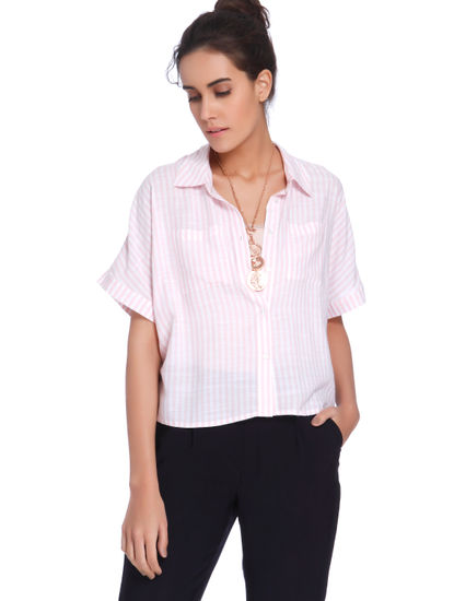 Pink & White Striped Crop Shirt