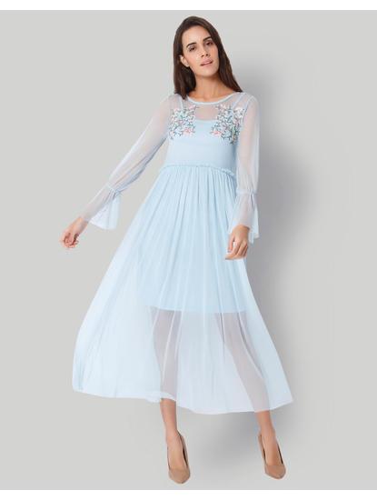 Light Blue Floral Embroidered Net Midi Dress