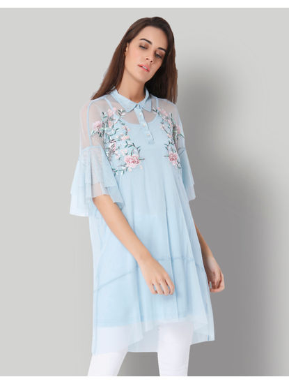 Light Blue Floral Embroidered Net Tunic