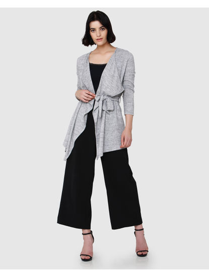 Grey Draped Long Cardigan
