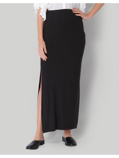 Black High Waist Straight Skirt
