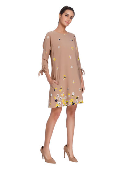 Beige Floral Print Shift Dress