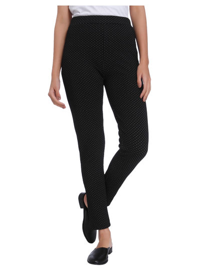 Black Printed Mid Rise Slim Fit Jeggings