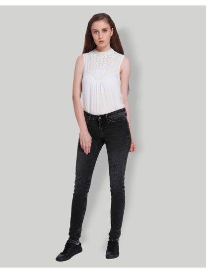 Black Distressed Low Waist Slim Fit Jeans