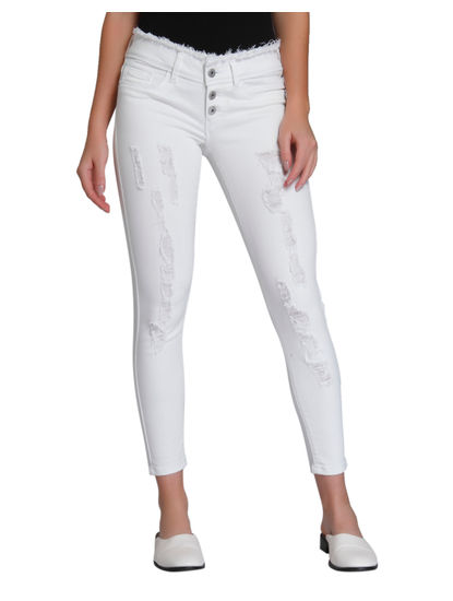 White Distressed Regular Waist Slim Fit Jeans