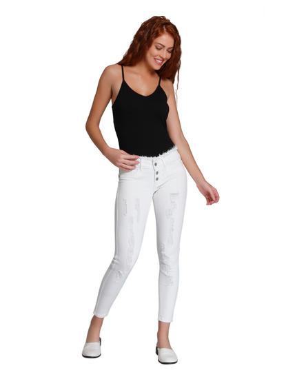 White Distressed Regular Waist Slim Fit Jeans