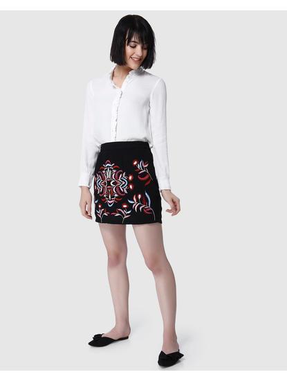 Black Embroidered Short Skirt