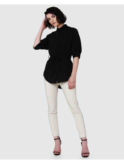 Black Long Belted Shirt