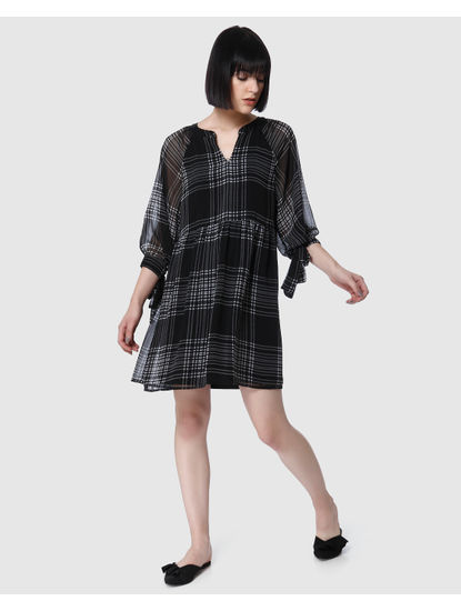 Black Check Mini Dress