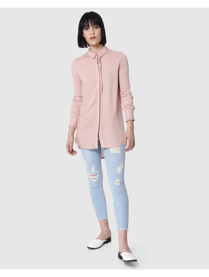 Pink Frill Detail Long Shirt