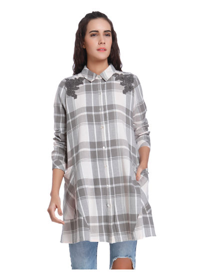 Grey Check Crochet Detail Long Shirt