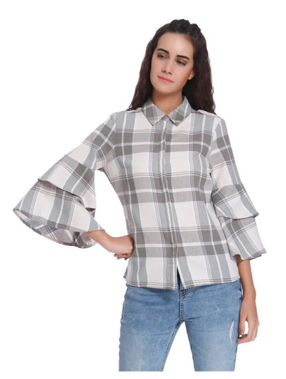White Check Ruffle Tiered Sleeves Top