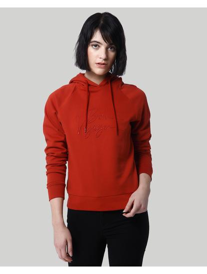 Red Text Print Hooded Sweatshirt