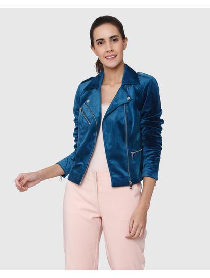 Blue Velvet Short Biker Jacket