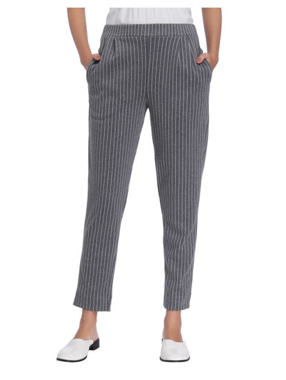 Light Grey Striped Ankle Length Pants