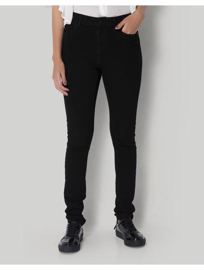 Black Mid Waist Slim Fit Jeans