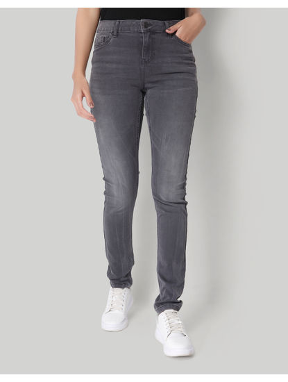 Light Grey Mid Rise Slim Fit Jeans