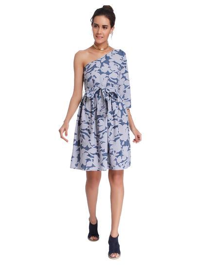 Blue Floral Print One Shoulder Shift Dress