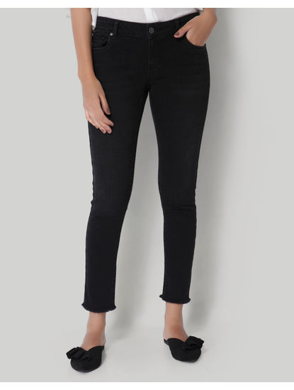 Black Low Waist Ankle Length Slim Jeans