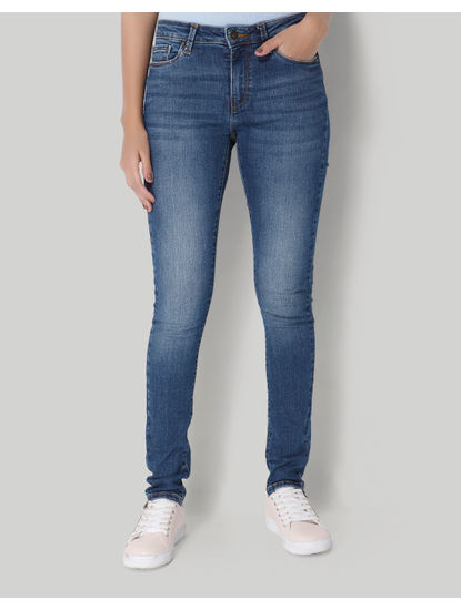 Blue Regular Waist Slim Fit Jeans