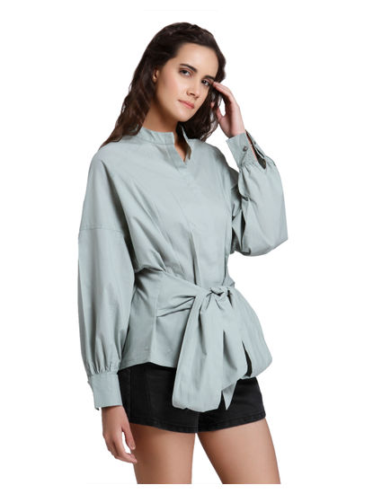 Green Front Knot Top