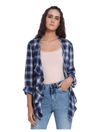 White & Blue Check Shrug