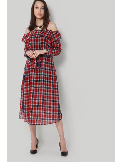 Pink Checks Cold Shoulder Maxi Dress
