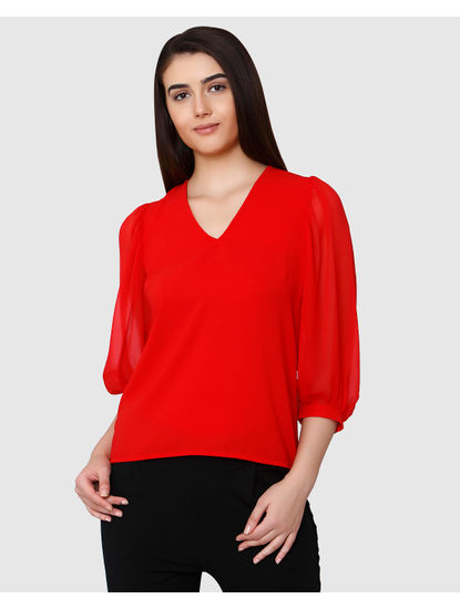 Red V-Neck Sheer Sleeves Top