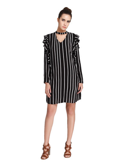 Black & White Striped Choker Neck Shift Dress