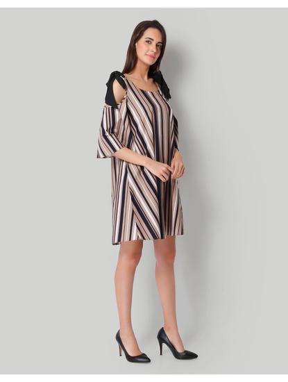 Beige Striped Cold Shoulder Shift Dress