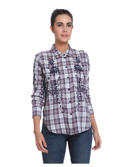 White Embroidered Check Shirt