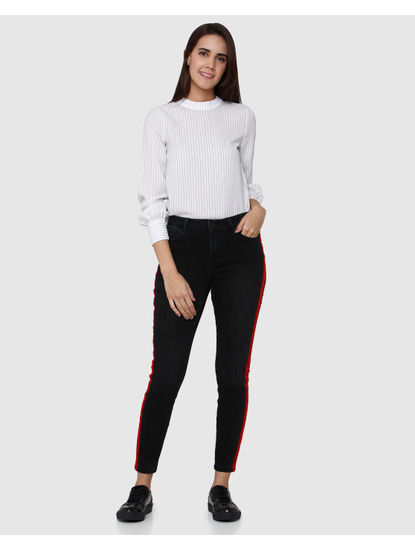 Black Tape Detail Mid Rise Slim Fit Jeans