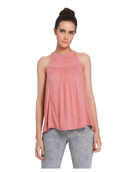 Peach Sleeveless Embroidered Top