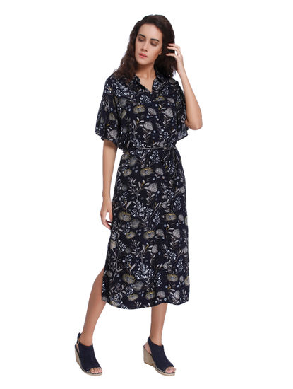 Dark Blue Floral Print Shirt Dress