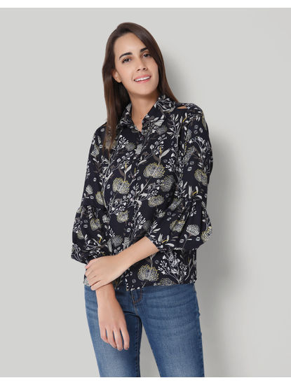 Dark Blue Floral Print Cold Shoulder Shirt