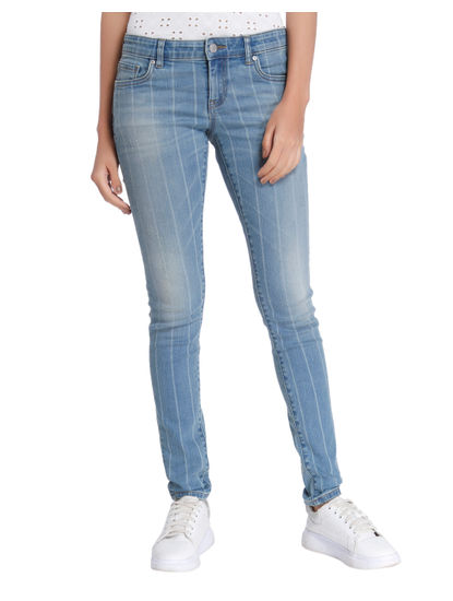Blue Striped Low Waist Slim Fit Jeans