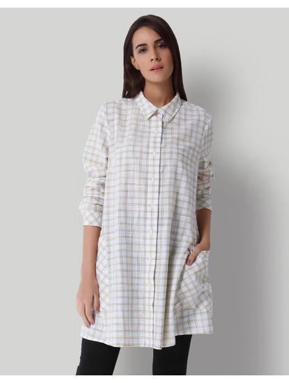 White Check Long Shirt
