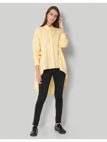 Yellow Check High Low Shirt