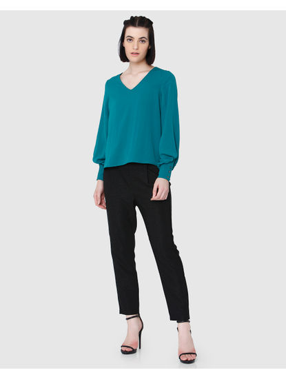 Green V Neck Long Sleeves Top