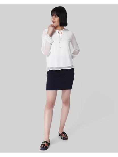 White Sheer Sleeves Top