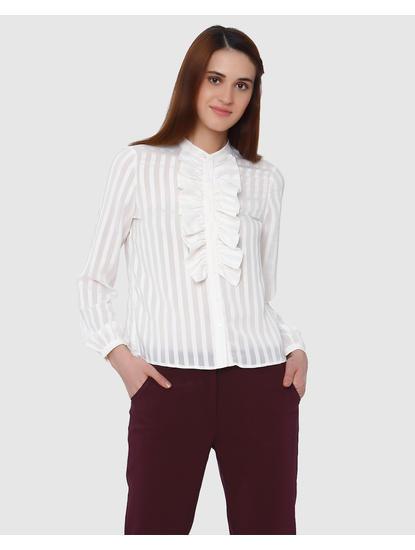 White Striped Ruffle Detail Shirt