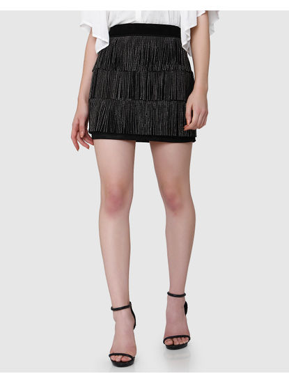 Black Mid Rise Embellished Fringe Short Skirt