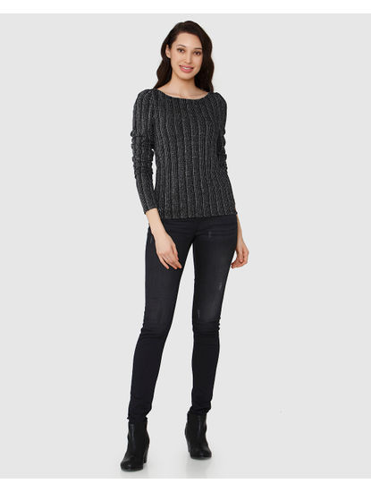 Black Boat Neck Long Sleeves Top