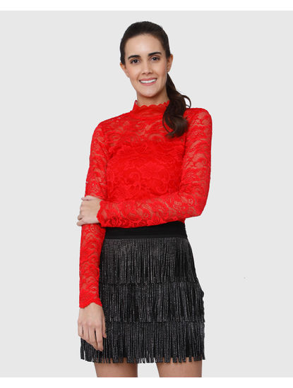 Red Lace High Neck Long Sleeves Top