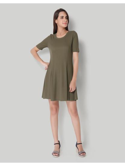 Olive Ribbed Skater Dress